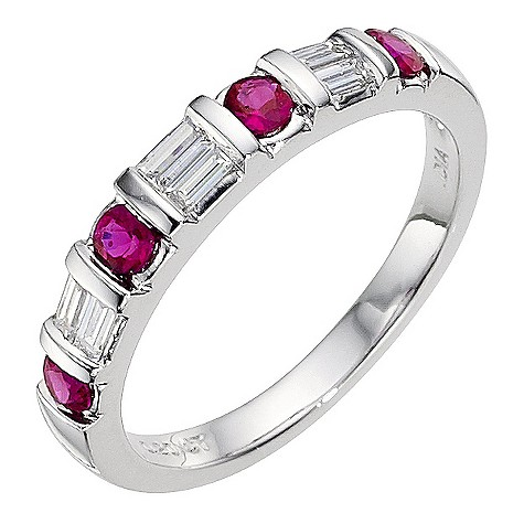 18ct white gold ruby and diamond eternity ring