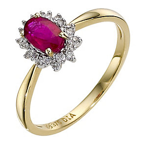 9ct yellow gold ruby & diamond cluster ring - Product number 8926492