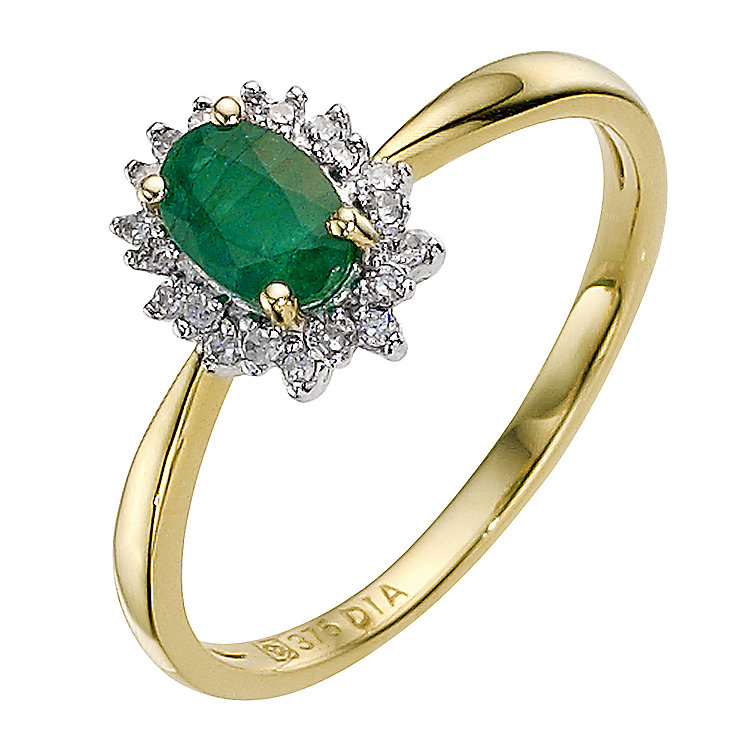 9ct yellow gold emerald cluster ring - Product number 8926638