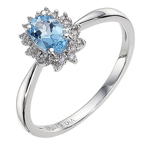 9ct white gold blue topaz cluster ring