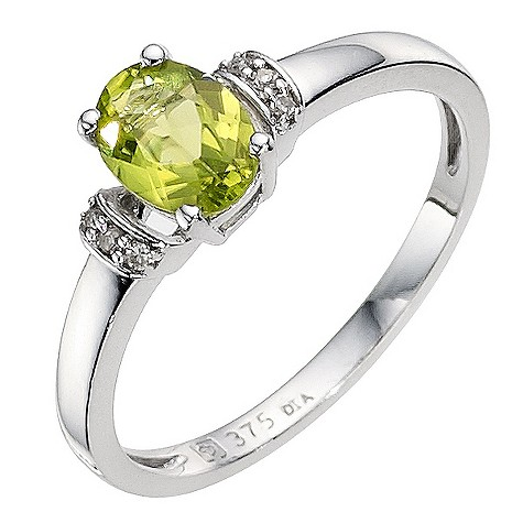 9ct white gold peridot