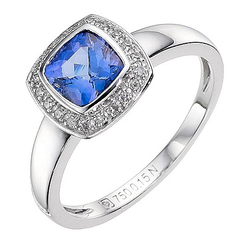 18ct white gold certificated tanzanite and diamond set ring