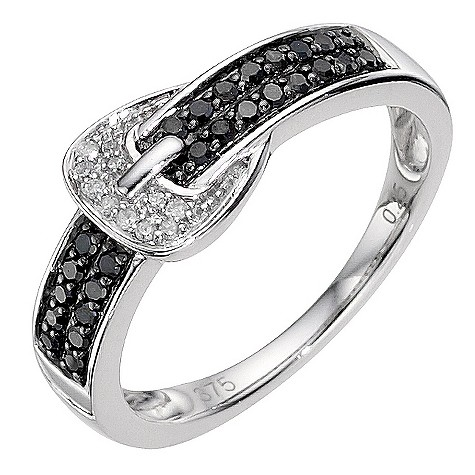 9ct white gold white and black diamond coloured buckle ring