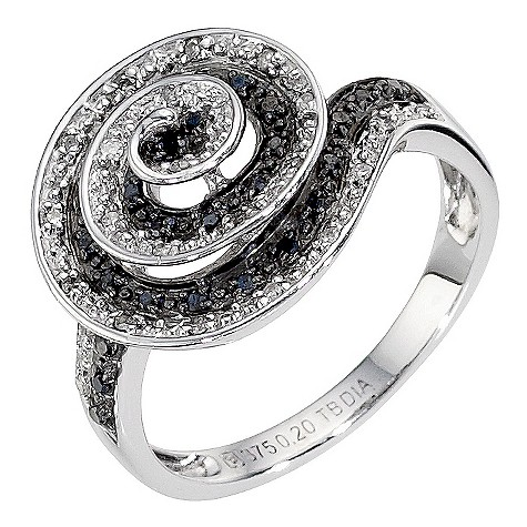 9ct white gold white and black diamond set swirl ring