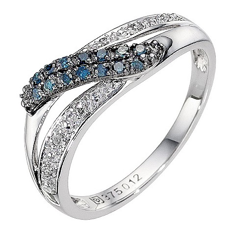 9ct white gold white and treated blue diamond ring