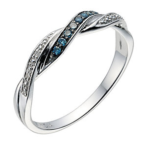 9ct white gold twist treated blue diamond ring - Product number 8928746