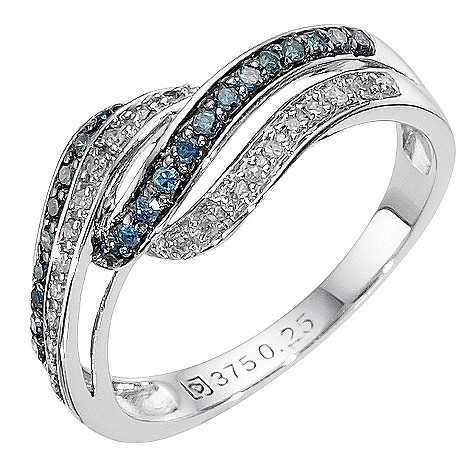 9ct white gold blue