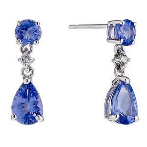 18ct white gold tanzanite pear earrings - Product number 8929009