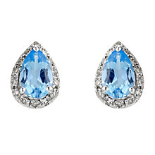 9ct white gold, blue topaz & diamond and earrings - Product number 8929033