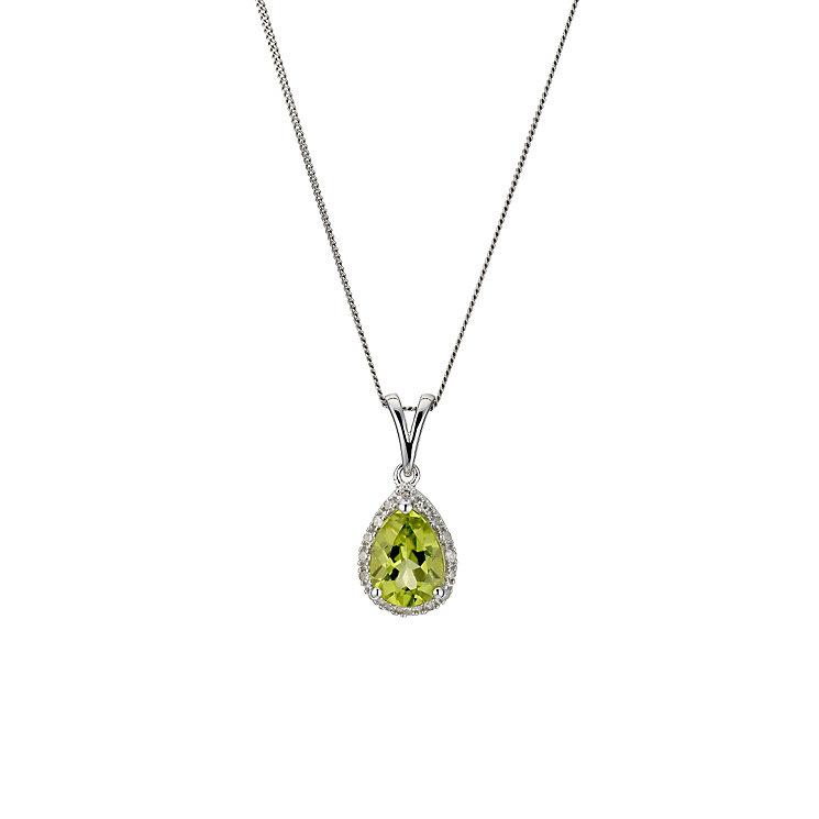 9ct white gold, peridot & diamond pendant - Product number 8929076