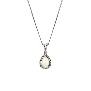 9ct white gold opal & diamond pendant - Product number 8929092