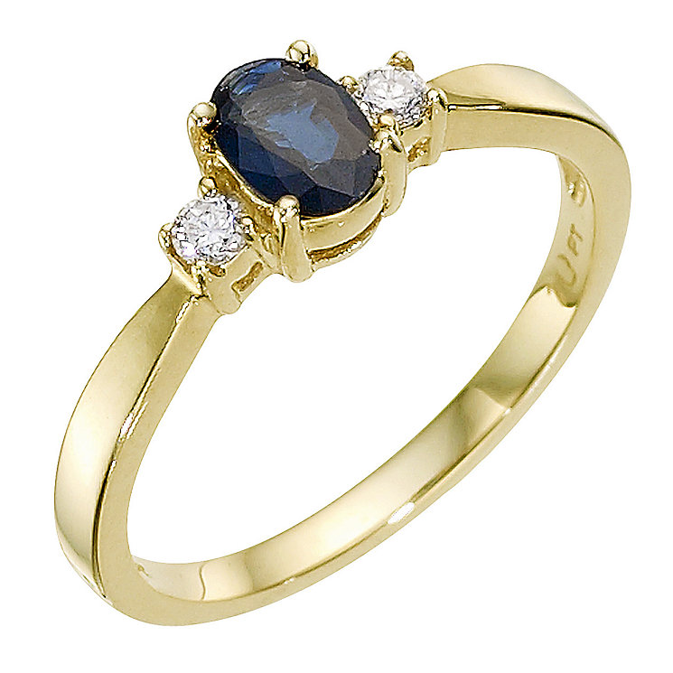 9ct gold sapphire and diamond ring - Product number 8929866