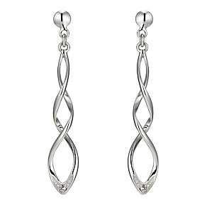 9ct white gold diamond dangle earrings - Product number 8930309
