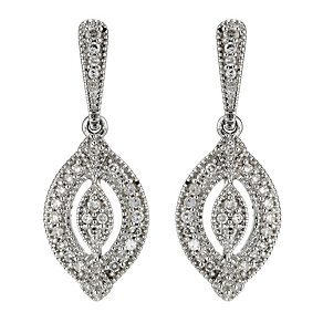 9ct white gold diamond drop earrings - Product number 8930376