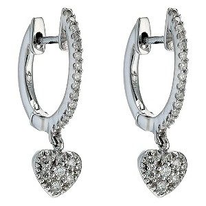 9ct white gold diamond heart drop hoop earrings - Product number 8930414