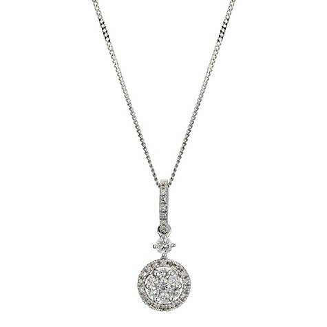 9ct white gold 1/3 carat diamond drop pendant necklace
