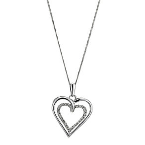 9ct white gold diamond heart pendant - Product number 8930570