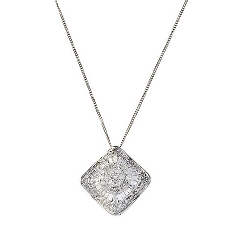 18ct white gold 1/2 carat diamond pendant necklace