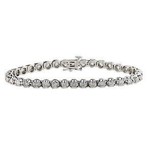18ct white gold 5 carat diamond tennis bracelet - Product number 8930643