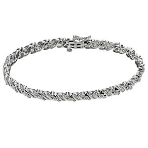 9ct white gold 1 carat diamond bracelet - Product number 8930716