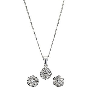 9ct white gold earring and pendant necklace - Product number 8930856
