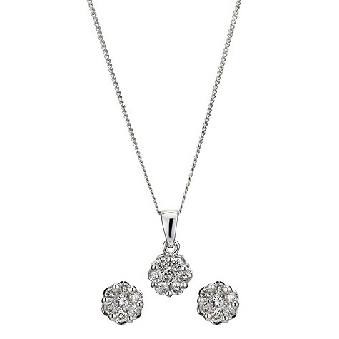 9ct white gold earring and pendant necklace