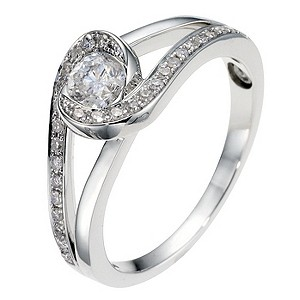 18ct white gold half carat diamond twist solitaire ring - Product number 8931089