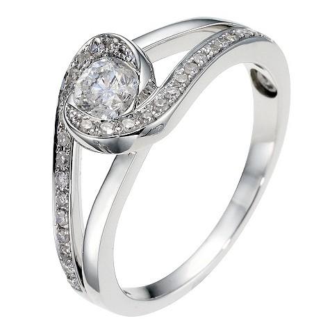 18ct white gold half carat diamond twist solitaire ring
