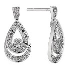 9ct white gold 1/4 carat diamond double pear earrings - Product number 8931658