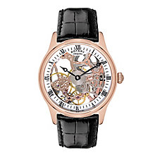 Men's Rotary Black Leather Strap Watch - Product number 8931801