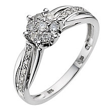 9ct white gold quarter carat diamond flower ring - Product number 8931828