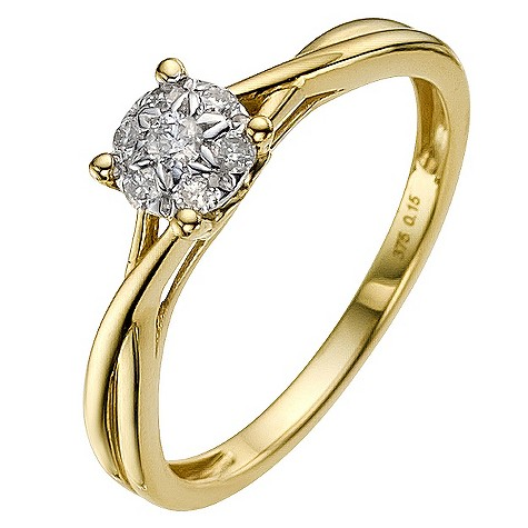 9ct gold 0.15 carat diamond cluster ring