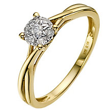 9ct gold 0.15 carat diamond cluster ring - Product number 8931941