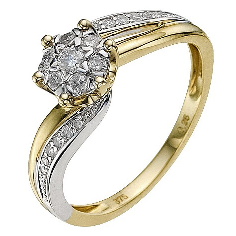 9ct gold two colour 1/4 carat diamond flower cluster ring