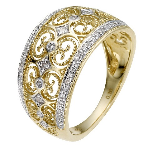 9ct yellow gold diamond filigree ring