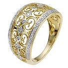 9ct yellow gold diamond filigree ring - Product number 8932212