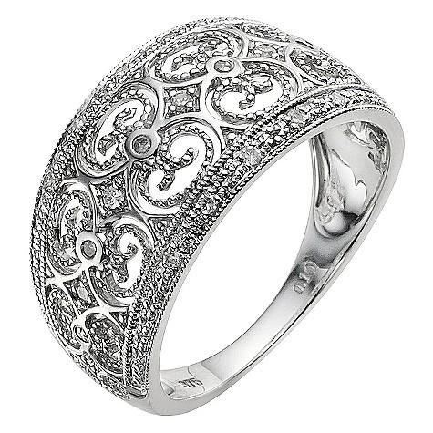 9ct white gold filigree diamond ring