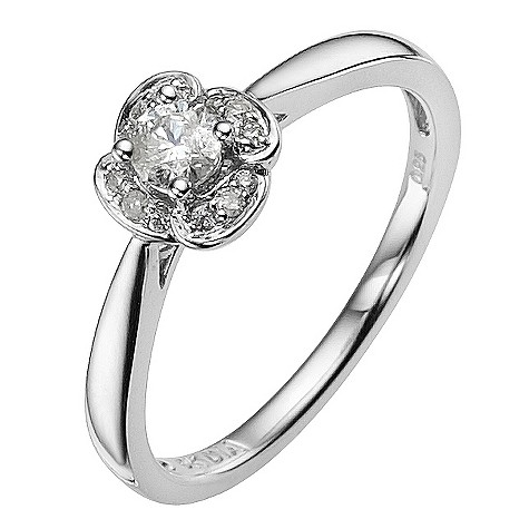 9ct white gold 1/4 carat diamond flower solitaire ring