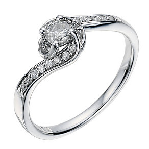 9ct white gold 0.33 carat diamond twist solitaire ring - Product number 8932611