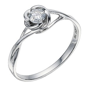 9ct white gold 1/4 carat diamond solitaire flower ring - Product number 8933006