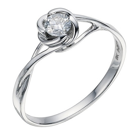 9ct white gold 1/4 carat diamond solitaire flower ring