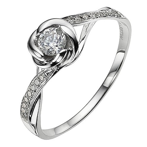 9ct white gold 0.33 carat diamond flower ring