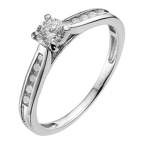 Platinum 0.66 carat diamond ring