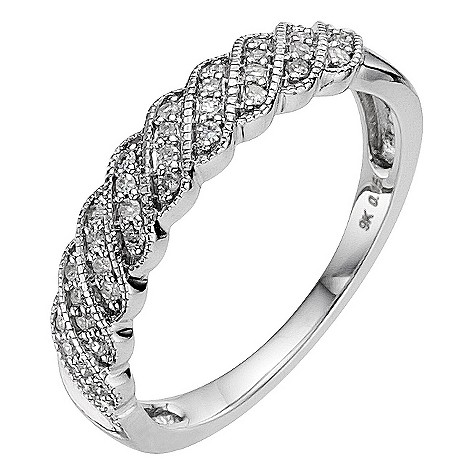 9ct white gold 0.15 carat diamond twist eternity ring