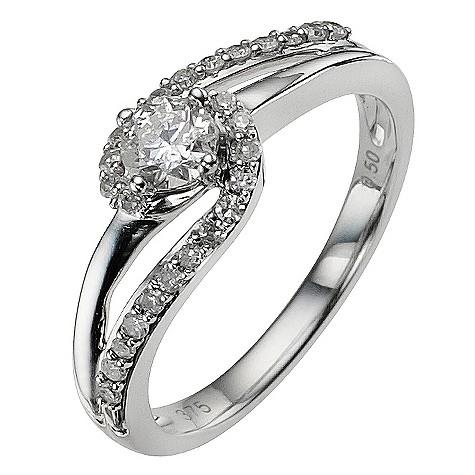 9ct white gold 1/3 carat diamond ring