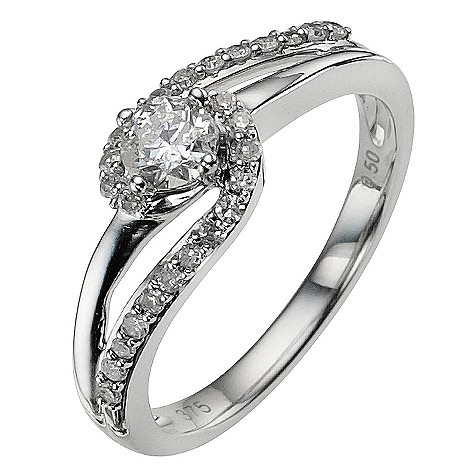 9ct white gold 1/2 carat diamond twist ring