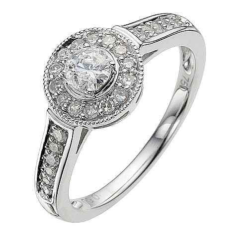 18ct white gold 1/2 carat halo diamond ring