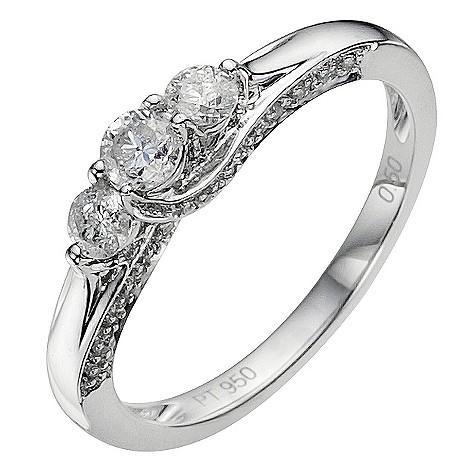 Platinum 1/2 carat 3 stone diamond ring
