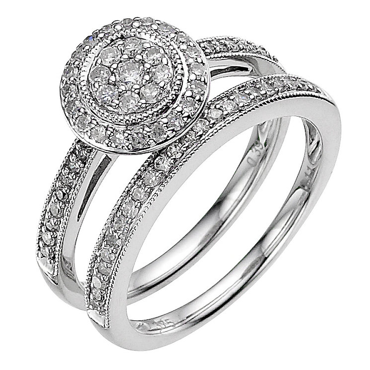 9ct white gold 0.50ct diamond cluster bridal set - Product number 8936714