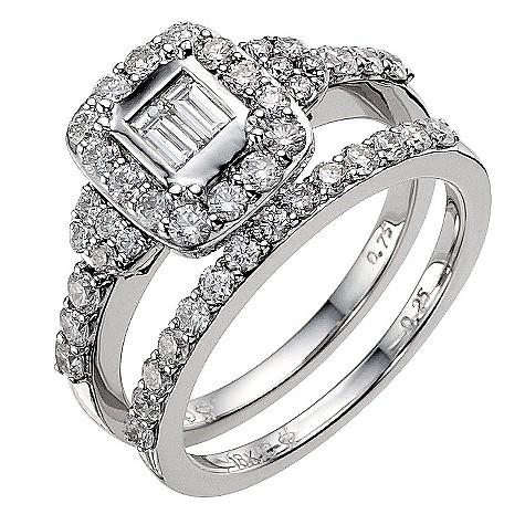 18ct white gold one carat diamond cluster bridal ring set